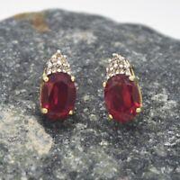 10k Yellow Gold Estate Ruby & Diamond Post Earrings