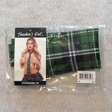 "Teachers Pet School Girl Tie Green Tartan Plaid 56"" Mens Wear Lingerie Costume"