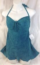 NEW MAINSTREAM 1PC Bathing SwimSuit Size 8 Teal Green Print Dress Attach Skirt
