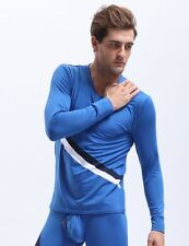 (M) Men's Long Sleeve Thermal Top Royal Blue Polyster Spandex Baselayers