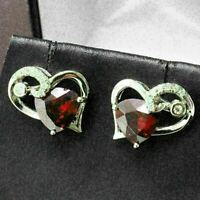 1.5 Ct Heart Ruby Earring Stud Women Jewelry 14K White Gold Plated Free Ship