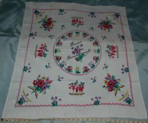 "Vintage Linen Tablecloth 32""x 35.5"" Screen Printed Violets Fuchsia Cowslip c1950"