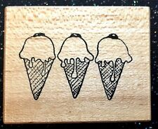 """Vintage Rubber Stamp """"Ice Cream Cone Border"""" by Psx Designs 1 1/2 x 2"""""""