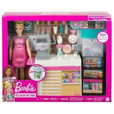 Barbie Coffee Shop Playset + Doll Cafe Barista Pretend Play Toy Gift Girl 20+pcs