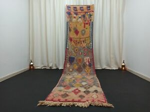 "Tribal Boujad Wool Moroccan Rug 2'7""x 12' Berber Runner Abstract Handmade Carpet"