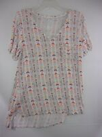 Maurices 24/7 Comfy Striped Short Sleeve V-Neck Top Womens Small