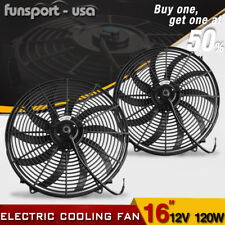 2x 16inch Push Pull Electric Cooling Fan Hot Rod Engine Radiator Kit 3000cfm 12V