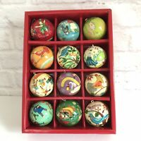CRATE & BARREL 12 Days of Christmas Ornaments Paper Mache Complete Set