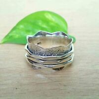 Solid 925 Sterling Silver Spinner,Meditation Ring Statement Ring Size V ra 405