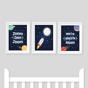 Nursery Prints - Set of 3, Zoom Zoom, Moon, Space Theme, Rocket, Kids Bedroom