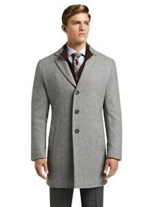 Jos. A. Bank Men's Tailored Fit Twill Top Coat Size 52 Long NWT Gray Wool 52L