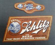 New listing Vintage Irtp Schlitz Beer Label/Neck Label