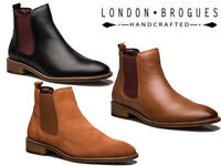 London Brogues Mens Leather Hamilton Chelsea Ankle Boots 3 Colours 7 to 12