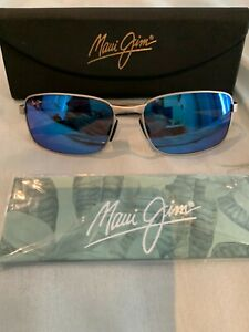Maui Jim Shoal MJ797-17M Silver Frame/ Blue Hawaii Polarized Sunglasses 57[]17
