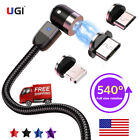 US New 540º Magnetic Fast Charge Charging Cable For Micro USB Type C IOS Android