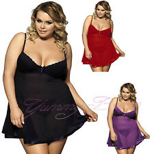 Yummy Bee Sexy Babydoll Dress Lingerie Babydoll Plus Size 6-24 Lace Underwire UK