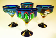 Mexican Margarita Glass, hand blown, hand painted Poncho design with cactus 4