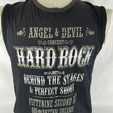 Angel & Devil Hard Rock Sleeveless Tshirt Black Net Brand Large