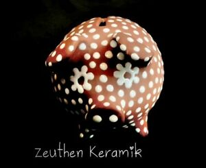 Zeuthen Keramik Denmark Redware Pottery Pig  Raised Dot Pattern Figurine