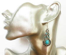 Beautiful Tibetan Silver Look Turquoise Diamante Dangle Drop Earrings Celtic Des