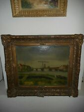 Large old oil painting,{ Landscape with houses, church and bridge, is signed }.