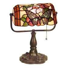 Tiffany Style Banker Butterfly Desk Lamp Stained Glass Reading Accent Lamp