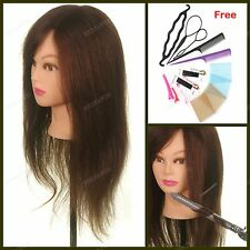 22in. 100% Human Hair Mannequin Training Practice Head Hairdressing & Braid Tool