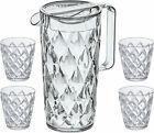 Koziol Crystal Kanne 1,6 l inkl. Deckel und 4 Becher Gläser Tasse Karaffe