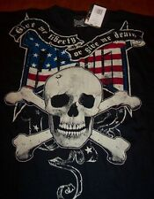 TAPOUT AMERICAN FLAG SKULL CROSSBONES TAP OUT T-Shirt MEDIUM NEW w/ tag