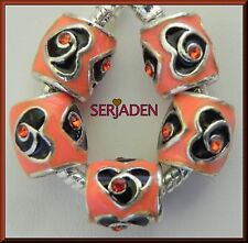 5 Orange Black Heart Charm Spacer Fits European Jewelry 11 * 11 & 5 mm Hole R002