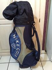 VTG Nike Golf Cart Carry Bag Blue/Gray/White- Strap Rain Cover 5 way, 7 Zip, EUC