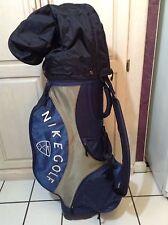VTG Nike Golf Cart Carry Bag Blue/Gray/White- Strap Rain Cover 5 way, 7 Zip, EUC