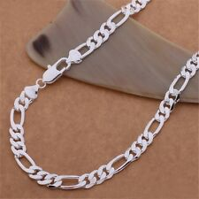 Fashion 925 Sterling silver Plated 6MM solid men Chain Necklace jewelry Hot