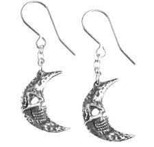 Music M'era Luna Alchemy Gothic E385 Pair Tragicom Skull Moon Dangling Earrings