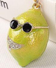 betsey johnson FRUIT YELLOW GREEN T-SHIRT NECKLACE GOLD CHAIN *gotta wear shades