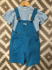 Vintage Guess Jeans 18-24 Months Blue Denim Overalls Shirt Set Matching 80s 90s
