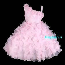 NEW Flower Girl Pageant Wedding Bridesmaid Party Fancy Ball Dress Pink SZ 7 Z44C