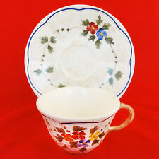 NEMOURS by Longchamp made in France NEW NEVER USED Cup & Saucer Hand Painted