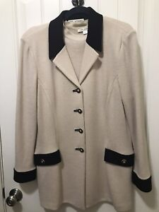 ST. JOHN Collection for Marie Gray 3 PIECE KNIT  Beige/Black JACKET, TOP & PANTS
