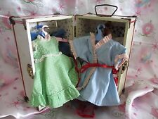 """VTG 9.5"""" BABY DOLL METAL CLOTHES TRUNK CASE + LOADS OF DRESSES/COATS..VERY OLD!"""