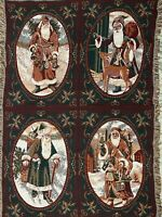 "Goodwin Weavers Christmas Santa Claus Tapestry Blanket Throw w/ Fringe 64"" x 43"""