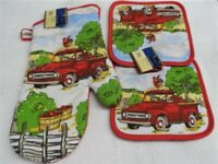 3 Piece Red Truck Country Kitchen Decor 2 Potholders, 1 Oven mitt, set