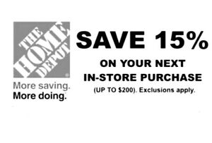 1X Home Depot 15% OFF Save up to $200,Instore - expires 11/1/21
