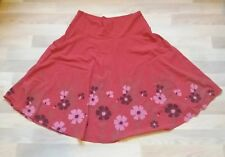 Organic Cotton Ladies Umbrella Skirt Onyxstar UK 14 Floral Berry Red