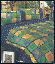 Letto Matrimoniale Set Copripiumino Floreale Blu Verde Giallo Quadrati Multi elegante biancheria da letto