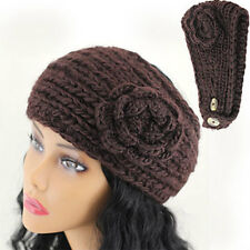 Crochet Flower Accent Headband Head Wrap BROWN Knitted Head Band New Free Ship