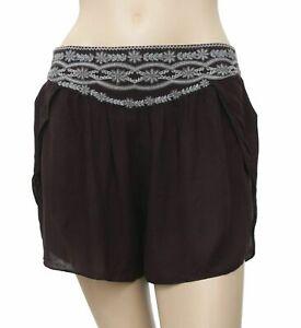 Ecote Urban Outfitters Evelyn Embroidered Yoke Black Shorts Boho S New 180482