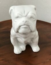 "Vintage Porcelain Bulldog Japan 5"" White Statue Figurine No Chips! Perfect"