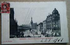 alte AK Tourcoing Platz der Republik Station Straßenbahn Frankreich 1912 gel.