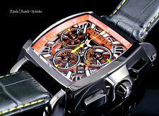 Invicta Tonneau Cuadro Quartz Chronograph Orange Dial Black Leather Strap Watch